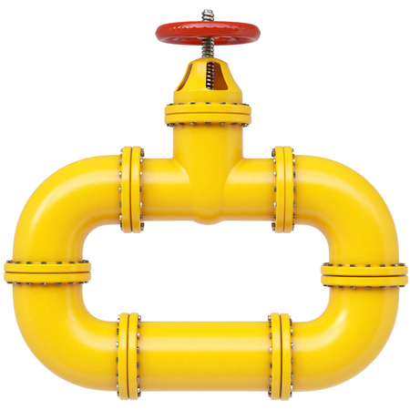 Yellow gas pipe. Fuel and energy industrial concept. 3d illustration Standard-Bild