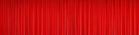 Red closed curtain with beautiful folds. 3d rendering. Stock Photo