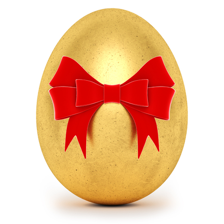 Realistic golden Easter egg with a big bow on white background. 3d rendering. Stock Photo