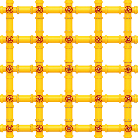 yellow gas pipes on a white background. 3d rendering.