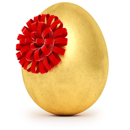 Realistic golden egg with a red bow. Isolated on white background. 3d rendering Stock Photo