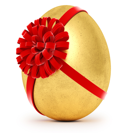 Realistic golden egg tied a red ribbon with a bow. Isolated on white background. 3d rendering
