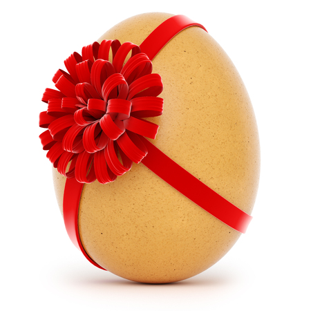 Realistic Easter egg with a big bow on white background. 3d rendering. Stock Photo