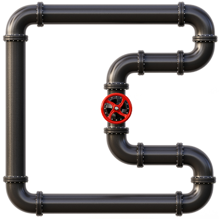 Black oil pipes. Fuel and energy industrial concept. 3d illustration