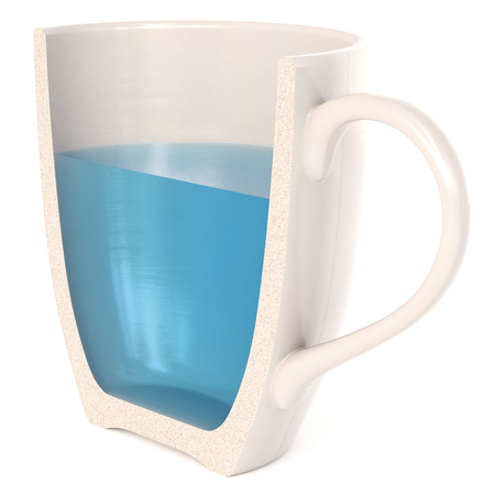 A Half Cup of fresh water isolated on white a background. 3d rendering.