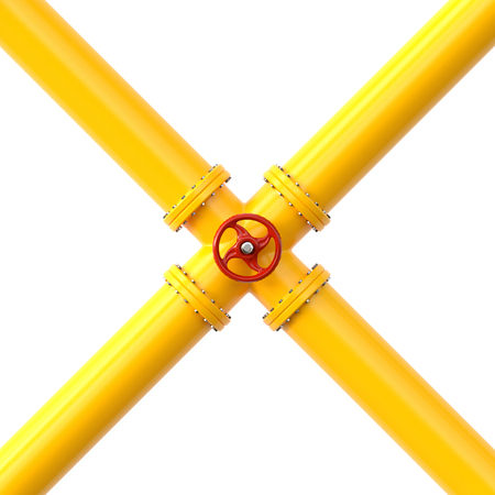 Yellow gas pipe. Fuel and energy industrial concept. 3d illustration Standard-Bild - 123118306