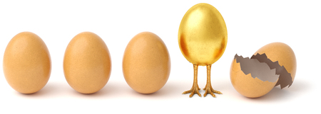 Row of chicken eggs. One golden egg with golden chicken feet and one Broken Egg Shell. isolated on a white background. 3d rendering. Standard-Bild - 123118315