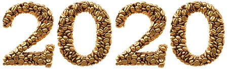 new 2020 year from gold coffee beans. isolated on white. 3D illustration Stock Photo