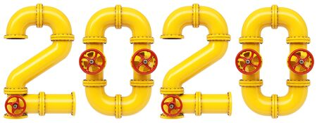 new 2020 year from gas pipes. Isolated on white background. 3D illustration.