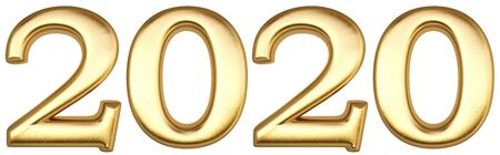 new 2020 year from gold. isolated on white. 3D illustration.
