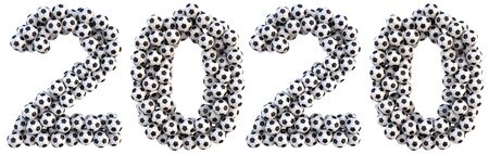 new 2020 year from the soccer balls. isolated on white. 3D illustration Stock Photo