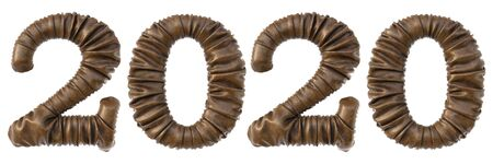 new year 2020 made from brown leather with realistic folds. Isolated on white. 3D illustration. Stock Photo