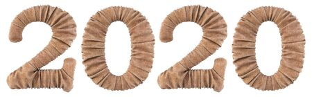 new year 2020 made from burlap. Isolated on white. 3D illustration.