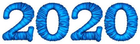 new 2020 year from the blue fabric. isolated on white. 3D illustration.
