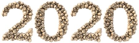 new year 2020 made from skulls. Isolated on white. 3D illustration.