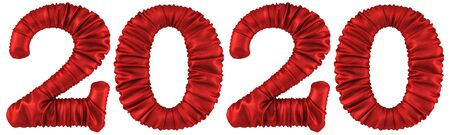 new 2020 year from the red fabric. isolated on white. 3D illustration.