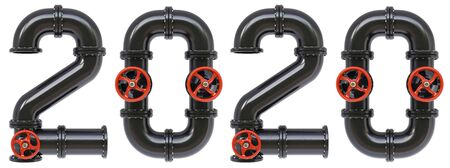 new 2020 year from oil pipes. Isolated on white background. 3D illustration.