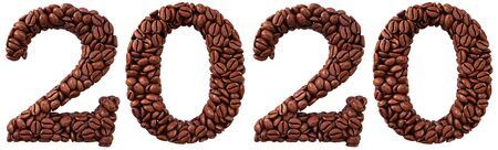 new 2020 year from coffee beans. isolated on white. 3D illustration.