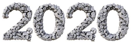 Number 2020 from the stones. isolated on white background. 3D illustration