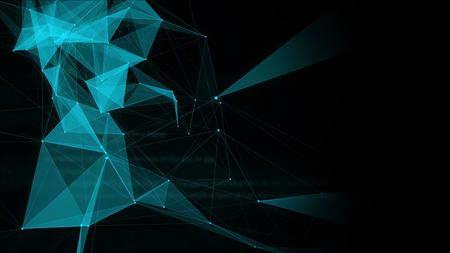 looping: Blue abstract tech polygons with space for text. 4K Looped animation. Presentation background. Stock Photo