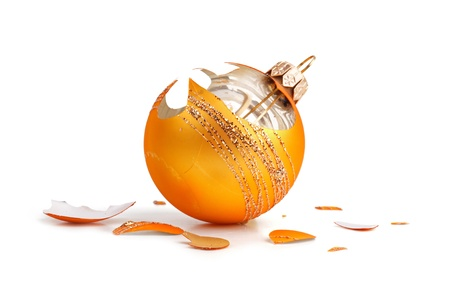 man made object: Broken Orange Christmas decorations on a white background Stock Photo
