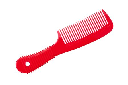 stow: A beautiful red comb hair on a white background