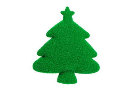 factitious: The artificial green Christmas tree on a white background