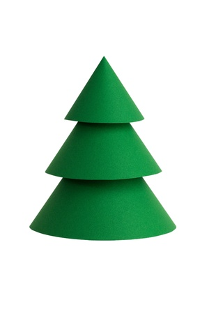 Beautiful green stylized Christmas tree made of paper on a white background photo