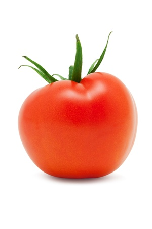 sapid: Small red ripe tomato on a white background Stock Photo