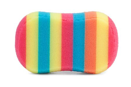 Beautiful color striped sponge for washing dishes on a white background photo