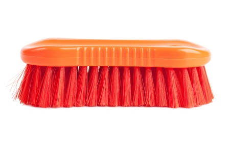 spinous: A plastic bristle brush for clothes on a white background Stock Photo