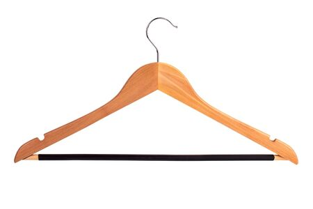 Wooden clothes hanger on a white background