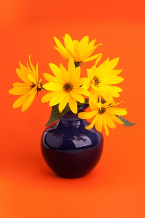 A bouquet of yellow flowers in ceramic vase on orange background photo