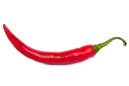 peppery: Beautiful ripe red chili peppers on white background