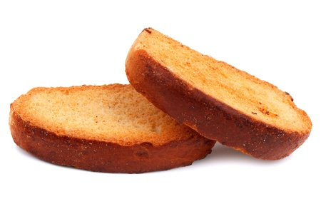 Two rosy bread croutons on a white background photo