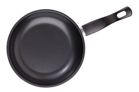 teflon: Small black round griddle on a white background