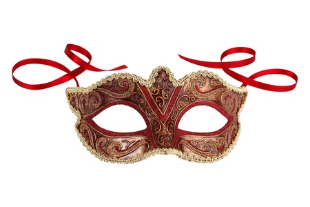 venice carnival: Beautiful festive carnival mask with ribbons on white background