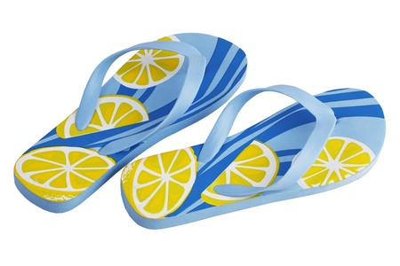 A pair of smart blue yellow beach slippers on a white background photo