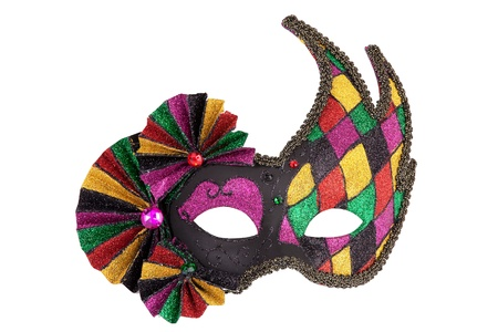 mascara de carnaval: Colorido máscara original del carnaval festivo en el fondo blanco Foto de archivo