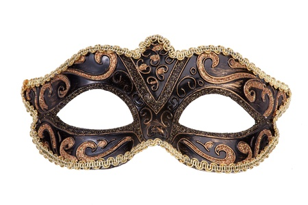 The original festive carnival mask gold on a white background Stock Photo
