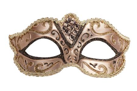The original bronze festive carnival mask on white background Standard-Bild