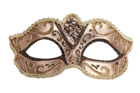 confidentiality: The original bronze festive carnival mask on white background Stock Photo
