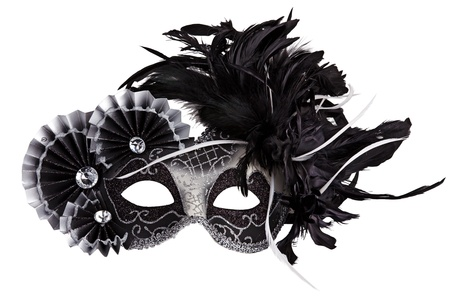 Mask decorated with feathers on a white background