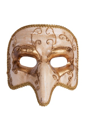 The golden carnival mask with a nose on a white background Standard-Bild