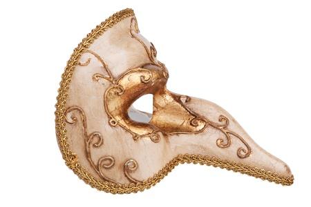 Nosed golden carnival mask on white background Stock Photo