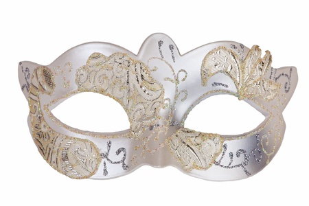 Silvery white carnival mask on white background photo