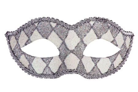 Decorated with mother of pearl original carnival mask on white background photo