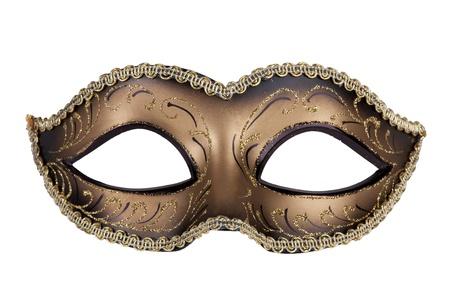 carnaval venise: D�coratif masque de carnaval noir et or sur un fond blanc Banque d'images