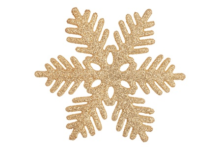 Decorative ornate gold-colored snowflake on white background photo