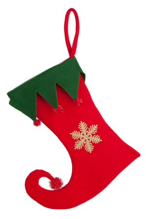 gratify: Trim a Christmas sock with a bent nose on a white background Stock Photo